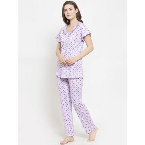 Claura Women Mauve Printed Night suit