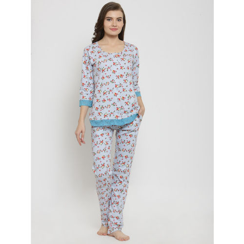 Claura Women Multicoloured Printed Night suit cot-112-Grey-LT