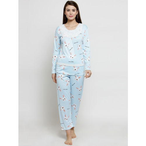 Claura Women Blue & White Printed Night Suit CH-01
