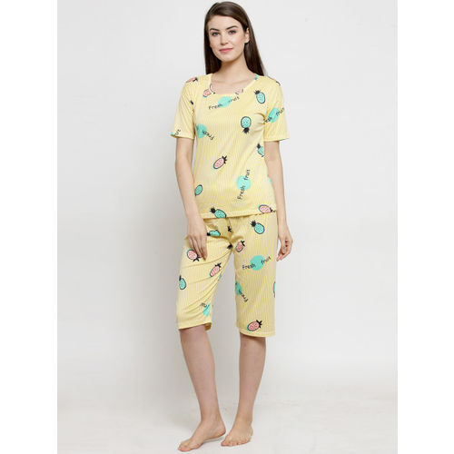 Claura Women Yellow & Green Printed Night Suit CH-03