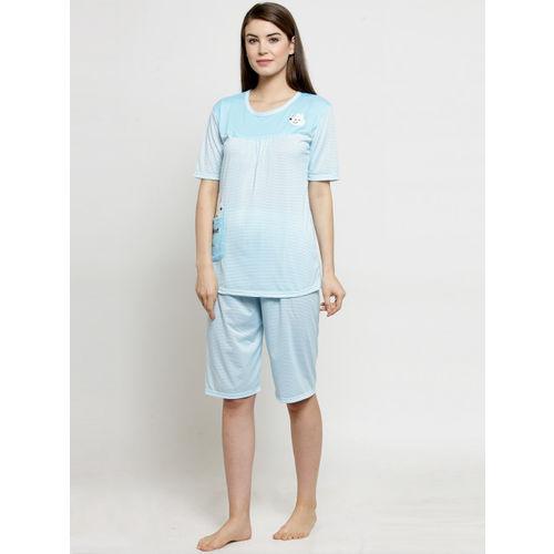 Claura Women Blue Striped Night suit CH-02-stripe