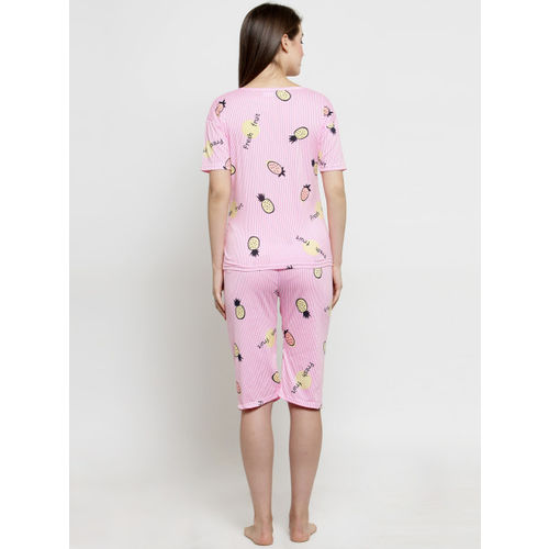 Claura Women Pink Printed Night Suit CH-03