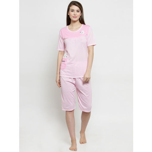 Claura Women Pink & White Striped Night Suit CH-02