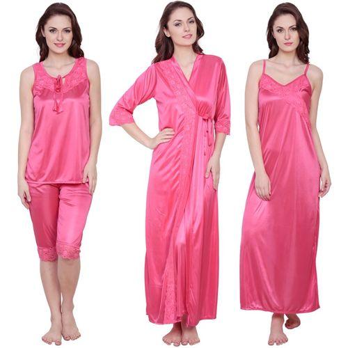 Claura Women Nighty Set(Pink)