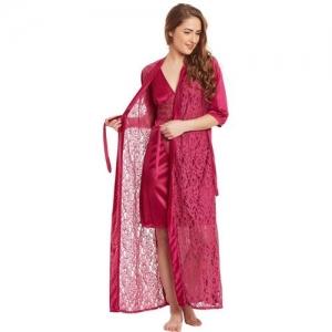 Claura Women Nighty with Robe(Maroon)