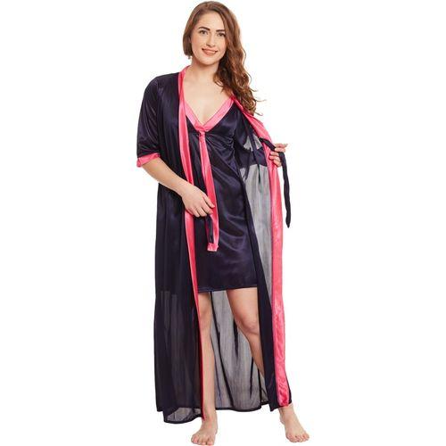 Claura Women Nighty with Robe(Multicolor)