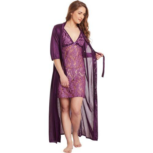 Claura Women Nighty with Robe(Purple)