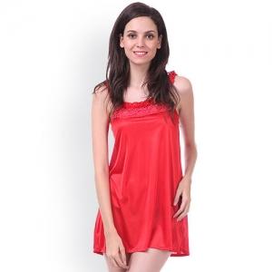 Claura Women Nighty(Red)