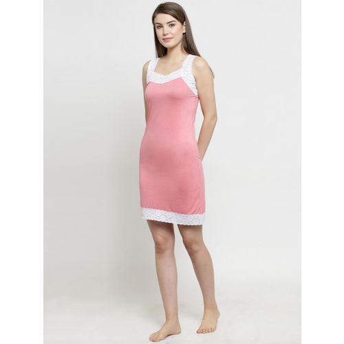 Claura Pink Solid Nightdress Cot-123-SN