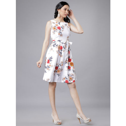 Tokyo Talkies Women Off-White Fit and Flare Dress