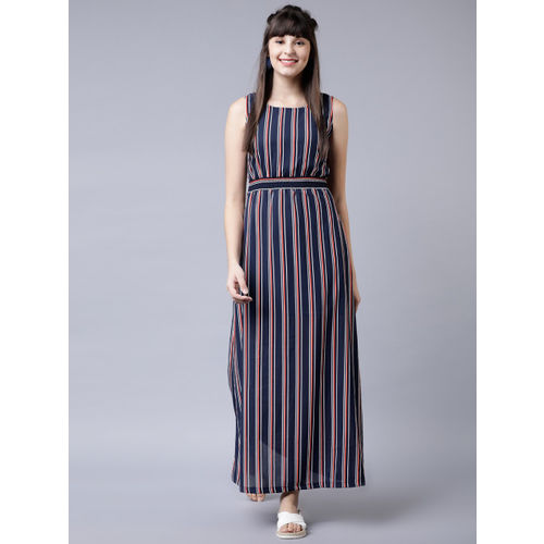 Tokyo Talkies Women Navy Blue & Red Printed Maxi Dress