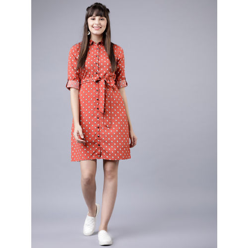 Tokyo Talkies Women Red & White Printed Shirt Dress