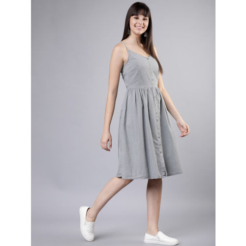 Tokyo Talkies Women Grey Fit and Flare Dress