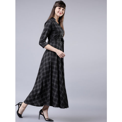 Tokyo Talkies Women Grey & Black Checked Empire Dress