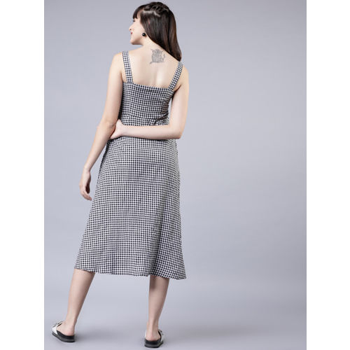 Tokyo Talkies Women Black & White Checked Fit and Flare Dress