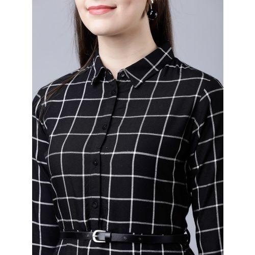 Tokyo Talkies Women Black & White Checked Shirt Dress