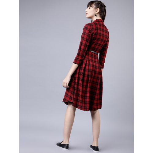 Tokyo Talkies Women Red & Navy Blue Shirt Dress