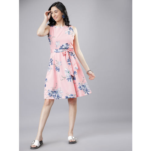 Tokyo Talkies Pink & Blue Fit and Flare Dress