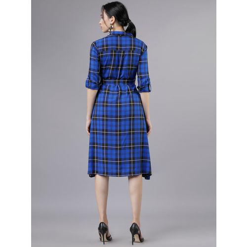 Tokyo Talkies Blue & Black Checked Shirt Dress
