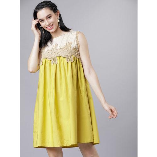 Tokyo Talkies Women Yellow Embellished A-Line Dress