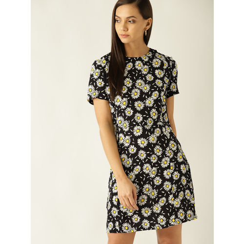 MANGO Women Black & White Floral Print Shift Dress