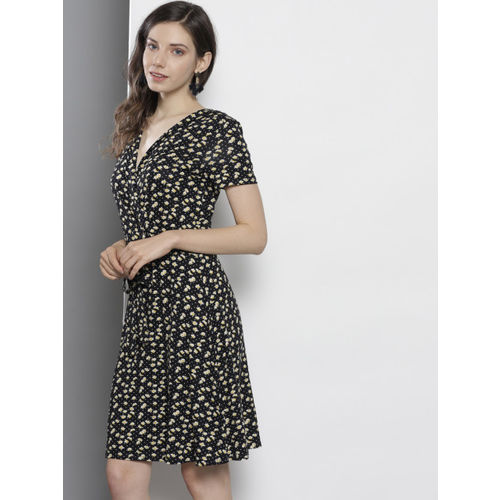 DOROTHY PERKINS Women Black & Yellow Printed Wrap Dress