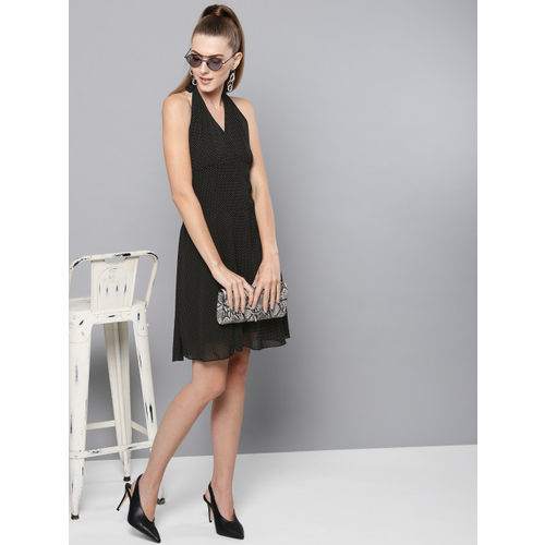 Trend Arrest Women Black & White Fit and Flare Dress