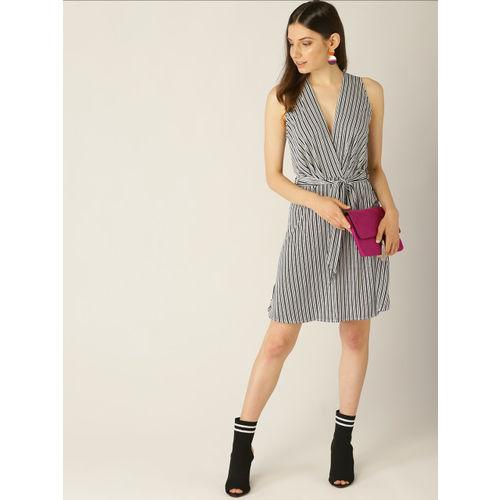 MANGO Women Black & White Striped Wrap Dress