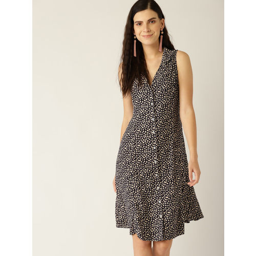 MANGO Women Black & Beige Printed Shirt Dress