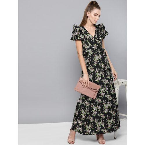 Trend Arrest Women Black & Green Printed Maxi Dress