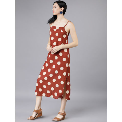 Tokyo Talkies Women Rust Red & White Polka Dot Printed Sheath Dress