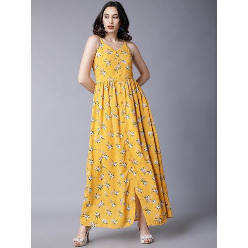 Tokyo Talkies Women Yellow Floral Printed Maxi Dress
