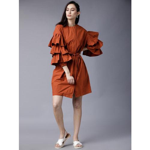 Tokyo Talkies Women Rust Solid Blouson Dress