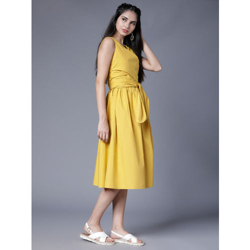 Tokyo Talkies Women Yellow Solid Fit and Flare Dress