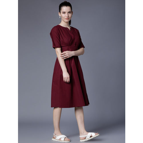 Tokyo Talkies Women Maroon Solid Fit and Flare Dress