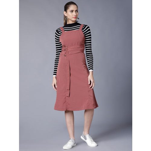 Tokyo Talkies Women Rose Solid Pinafore Dress