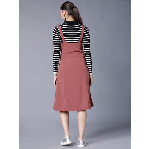 Tokyo Talkies Women Rose Solid Pinafore Dress