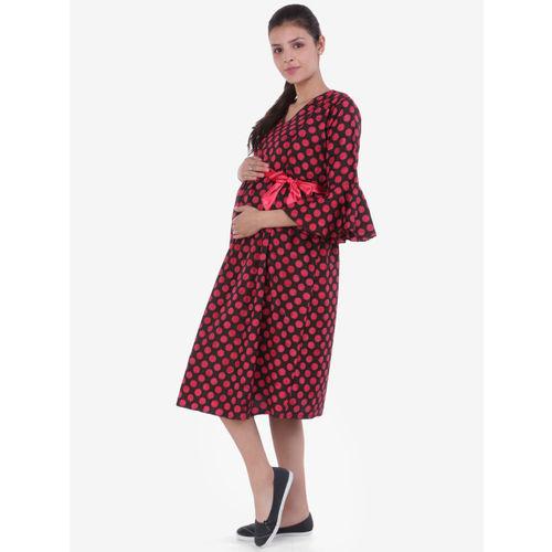 MomToBe Women Black & Red Printed Maternity Empire Dress