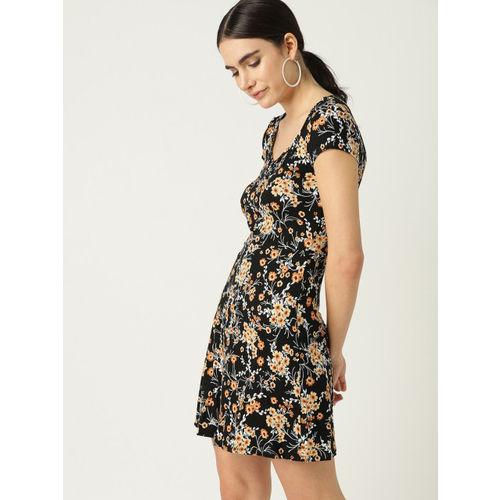 MANGO Women Black & Beige Printed A-Line Dress