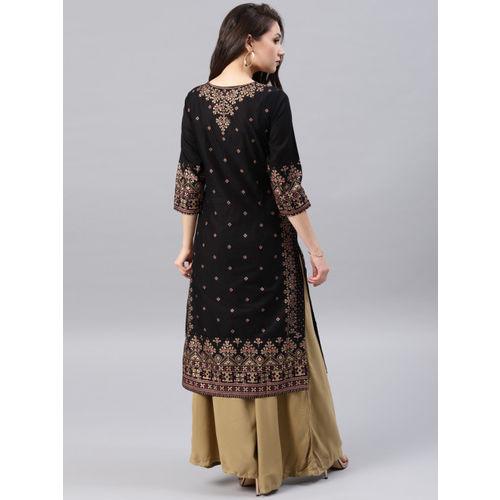 Vishudh Women Black & Gold-Toned Printed Straight Kurta