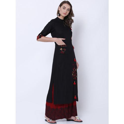 Vishudh Women Black Woven Design Straight Kurta