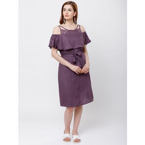 Tokyo Talkies Women Purple Solid Fit and Flare Dress