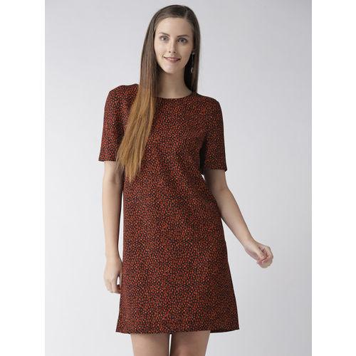 Marks & Spencer Women Black & Rust Orange Printed Shift Dress
