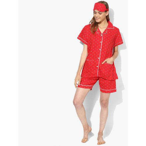 July Nightwear Red Printed Loungewear Set