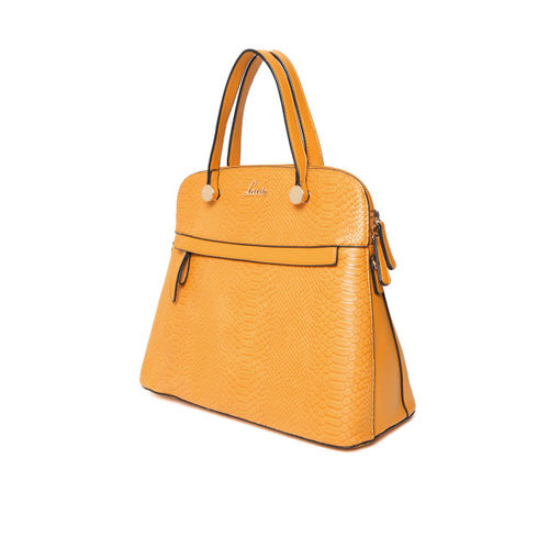 Lavie Mustard Yellow Snakeskin Textured Handheld Bag