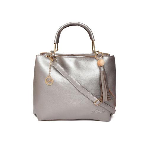 Alessia74 Gunmetal-Toned Solid Handheld Bag