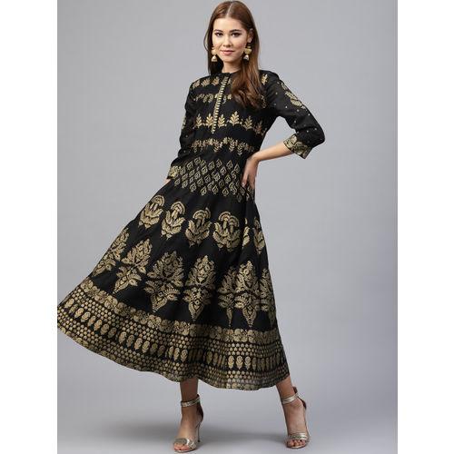 Juniper Women Black & Gold-Toned Fit and Flare Dress