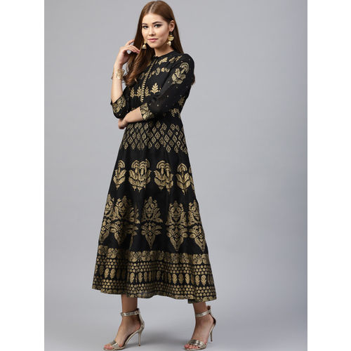 Juniper Women Black & Gold-Toned Fit and Flare Dress