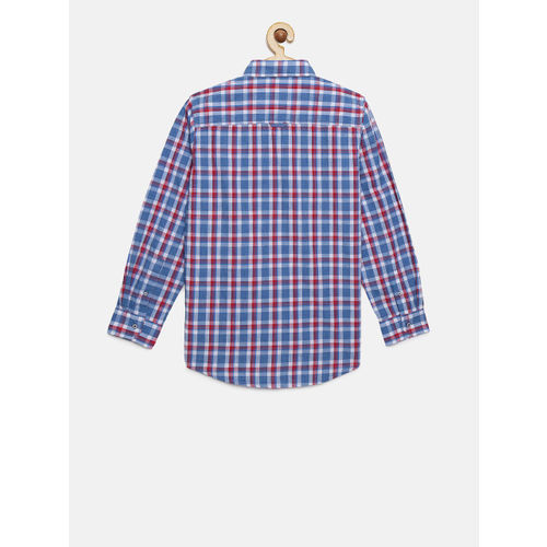 Lee Cooper Boys Blue & Red Slim Fit Checked Casual Shirt