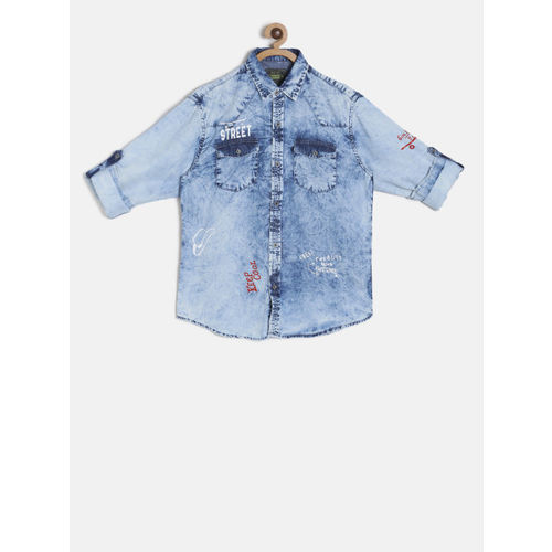 Gini and Jony Boys Blue Chambray Regular Fit Faded Casual Shirt with Printed Detail